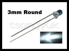 50 White 3mm Round LEDs Free Resistors