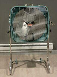 Vintage Aqua Dominion Model 2 Speed All Metal Box Fan on Stand