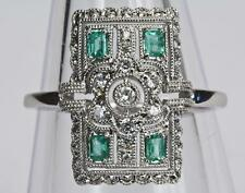 Un sólido 18ct Oro Diamante & Esmeralda Tamaño del anillo de estilo Art Deco O/P (US 7.5)