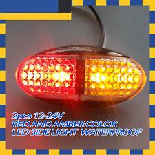 2pcs 12v 24v Red Amber Led Side Marker Tail Light Lamp Clearance Trailer Truck