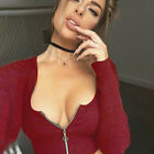 Donna Zip TUFFO profondo scollo a V JUMPER manica lunga maglia t-shirt slim