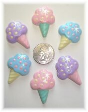 6PC ICE CREAM CONE GLITTER FLAT BACK FLATBACK RESIN  4 HAIRBOW BOW CENTER