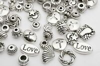 Lots Mixed 60pcs Tibetan Silver Spacer Beads Hope Love Cross Findings DIY HN