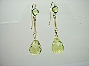 9ct Gold Hook Lemon Quartz Briolette Long Drop Earrings hand made