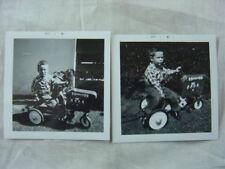 Vintage 1961 Photos Cute Boys w/ Pedal Car Farm Tractor Toy 802
