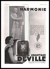 Publicité Chauffage DEVILLE poele  photo vintage  ad  1931 -1j