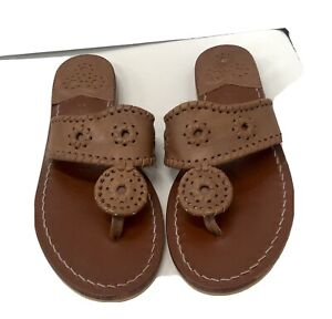 Jack Rogers brown leather Palm beach thong size 7