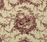 """WAVERLY LA PETITE FERME RED CREAM #D4024 Rooster Fabric BY THE THE YARD 54""""W"""