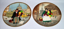 Royal Doulton ~ Classic Old Balloon Seller Lady & Man Porcelain Plates ~ England