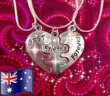 925 STERLING SILVER 3Pcs Best Friends Forever BFF Heart Charm Crystal Necklace