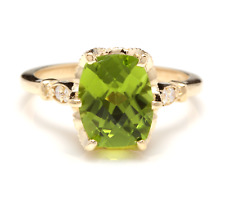 3.00 Carats Natural Peridot and Diamond 14K Solid Yellow Gold Ring