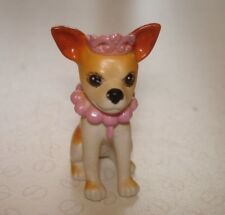 Barbie Doll Accessories - Pet Puppy Dog Chihuahua Figure - Pink Tiara & Necklace