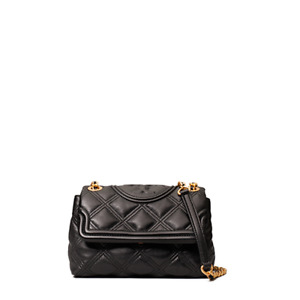 Tory Burch Fleming Soft Leather SMALL Quilted Shoulder Bag Purse - Black