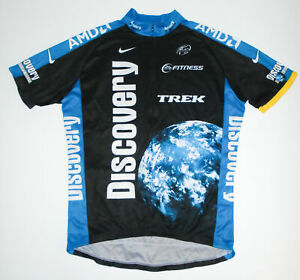 NIKE x DISCOVERY Channel Cycling Jersey BLACK & BLUE s/s TREK Mens ITALY Lg