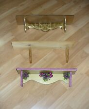 3 Wood Wall Mount Shelves Gold, Gold Berries & Lace Trim & Ready-to-Paint Shelf