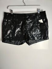 Neues AngebotNew Look Women's Shorts Black Hot Pants Sequins Sparkly Party Evening Club UK 14