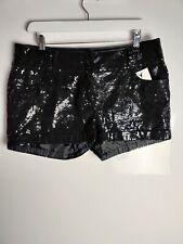 NEW Look Damen Shorts Schwarz Hotpants Pailletten funkelnd Party Abend Club UK 14