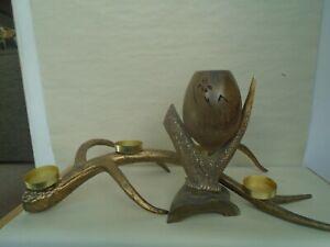 Large faux antler multi tea light holder & genuine antler & horn sculpture  LOOK