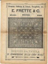 Stampa antica pubblicità FRETTE telerie tovaglie tessuti 1895 Old antique print