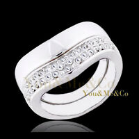 18k White Gold EP Clear Crystals Anniversary Ring Set
