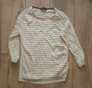 Ladies 'NEW LOOK' Yellow/White striped long sleeve Top. Size 8. vgc.