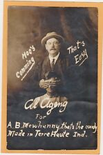 Real Photo Advertising Postcard Salesman A B Newhinney Candy Terre Haute Indiana