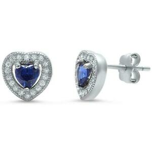 Tanzanite Heart Halo Stud Earrings in Solid Sterling Silver