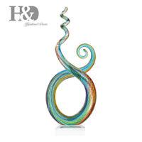 Rhythm Art Glass Sculpture Home Decor Elegant Artwork Colorful Ornament Gift