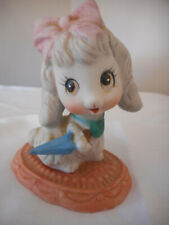 Vintage Homco Porcelain anthropomorphic Poodle Puppy Porcelain Figurine Umbrella