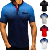 Men's Shirts Short Sleeve Cotton Casual T-Shirt Blouse Tops Collar Shirt Hot