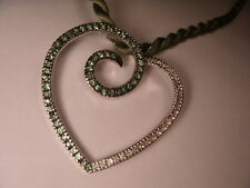 Magnificent 18K White Gold Diamond Tsavorite Green Garnet Heart Pendant Slide