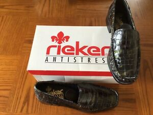 Rieker Loafers Anti Stress Black Mock Croc Patent Shoes Size 5.5UK. Ex Condition