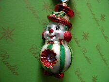 Christopher Radko Snowman Sparkleberry Bright Glass Ornament