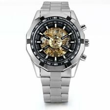 Luxury Skeleton Dial Automatic Mechanical Watch Mens Stainless Steel Wrist Watch