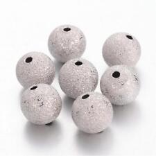 20 Stardustperlen Perlen Basteln 10 mm metall Platin beads Stardust (1560)