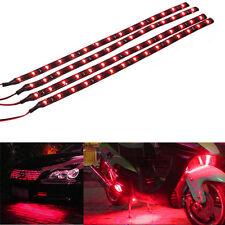 4x Red 12V 30Cm 15SMD LED Waterproof Flexible Strip Light For Harley-Davidson