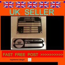 2 x TAXI BLACK CAB FX 2 3 4 LONDON HACKNEY CARRIAGE ALL-BLANK-VIN-CHASSIS-PLATES