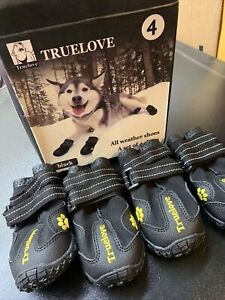 TrueLove Pet Black  All Weather Dog Shoes Set Of 4 - Size 4 Brand New