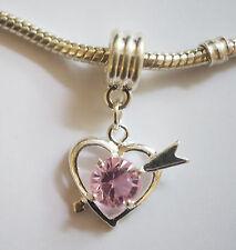 "1 Silver Plated "" Heart""  Dangle  Charm - Fit Charm Bracelet - Pink Rhinestone"