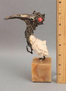 AURELIO TENO Grotesque Expressionist Bronze Coral & Shell PELICAN Bird Sculpture