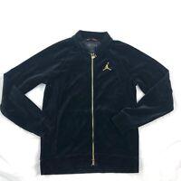 Air Jordan Velour Full Zip Track Jacket Black Gold AH2357-010 Men's Small-Large