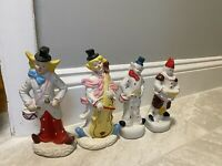 Vintage CLOWN Figurines Porcelain Lot of 4 Collectible Rare Circus Hobo 6