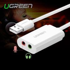 Ugreen USB 2.0 External Stereo Audio Sound Card Adapter For Windows Mac Linux