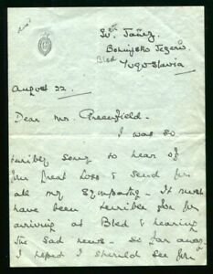CONDOLENCE LETTER PRINCE GEORGE DUKE OF KENT YUGOSLAVIA 1935 COUTTS BANK