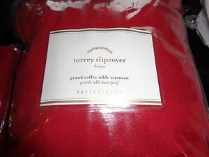 Pottery Barn Torrey Slipcover Grand Coffee table ottoman cherry  red New