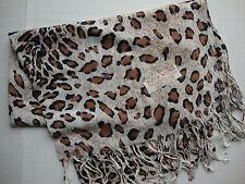 NEW Pashmina Fall Spring Scarf Scarves Silk White Brown Black Cheetah Shawl Wrap