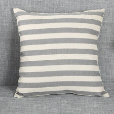 Grey and white striped cotton canvas cushion cover. nautical, neutral, seaside