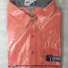 Vtg Staff by Wilson Golf Polo Shirt Peach Gray Stripe PGA Tour Epson Size XL NEW