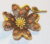 VINTAGE SIGNED ART LARGE FILIGREE FLOWER ORANGE & YELLOW ENAMEL BROOCH PIN