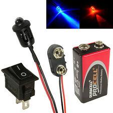 Alterna Red & Blue coche falsa falsa Alarma Led + PP3 Conector Batería + Interruptor